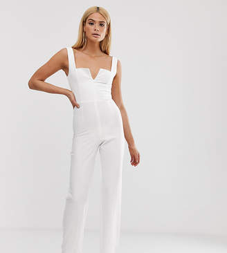 Vesper Tall plunge front wide leg jumpsuit in white