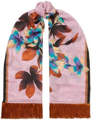 Etro Fringed Floral-print Silk-jacquard Scarf