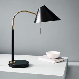 west elm Mid-Century Task Table Lamp + USB - Black