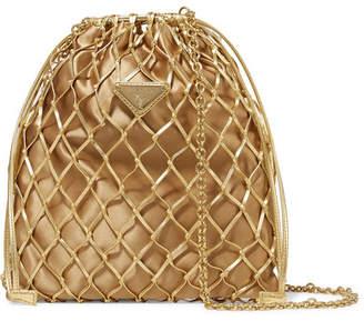 Prada Macramé Leather And Satin Bucket Bag - Gold
