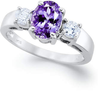 Macy's 14k White Gold Ring, Tanzanite (1-3/8 ct. t.w.) and Diamond (3/8 ct. t.w.) Oval Ring