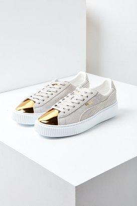 Puma Suede Platform Gold Toe Sneaker $100 thestylecure.com