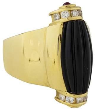 Lagos 18K Onyx, Diamond & Ruby Cocktail Ring