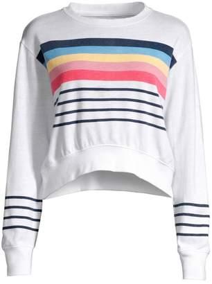 Sundry Rainbow Striped Cropped Sweatshirt