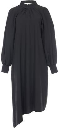 Tibi Viscose Twill Buckle Asymmetrical Dress