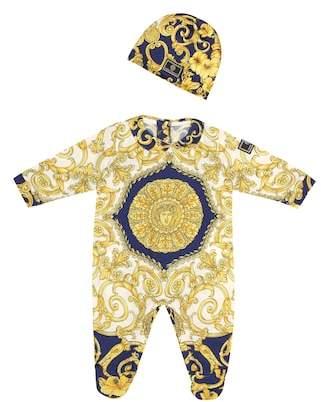 Versace Printed onesie and hat set