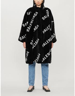 Balenciaga Pulled Opera logo-print faux-fur teddy coat
