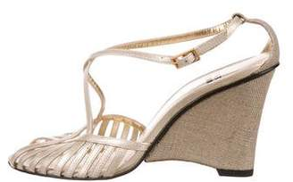 Stuart Weitzman Metallic Wedge Sandals