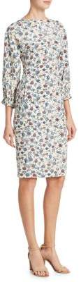 ADAM by Adam Lippes Floral Crepe Boatneck Dress