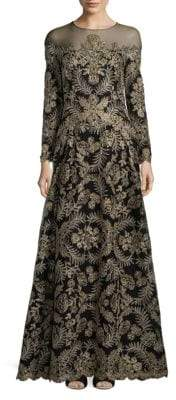 Tadashi Shoji Floral Sheer Gown