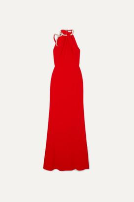 Alexander McQueen Crystal-embellished Crepe Halterneck Gown - Red