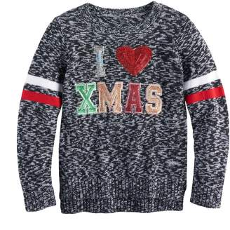It's Our Time Its Our Time Girls 7-16 & Plus Size High-Low Sequin Ugly Christmas Sweater
