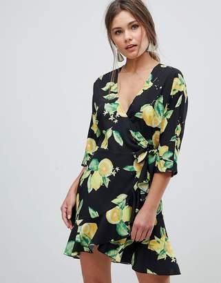 Asos Design Ruffle Wrap Lemon Print Mini Dress