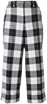 Thom Browne Sack Trouser With Fray In Large Buffalo Check Wool/ Cotton Sable