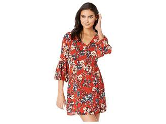BB Dakota Beverly Laurel Heritage Floral Printed Crepe de Chine Dress