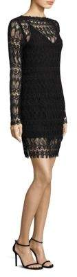 Nicholas Lace Panel Overlay Poet Sleeve Dress