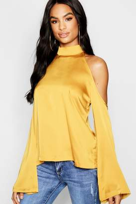 boohoo Tall Hammered Satin Cold Shoulder Blouse