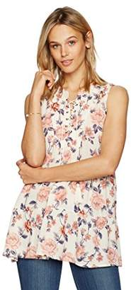 Ella Moon Women's Helena Sleeveless Lace up Neck Tier Top