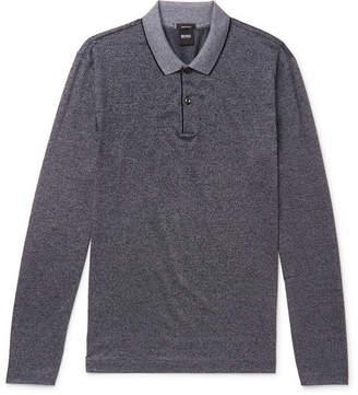 HUGO BOSS Slim-fit Mercerised Melange Cotton-jersey Polo Shirt - Gray