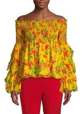 Caroline Constas Floral Off-The-Shoulder Silk Top