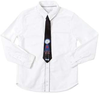 Little Marc Jacobs Cotton Oxford Shirt W/ Tie
