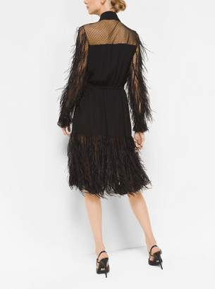 Michael Kors Feather-Embroidered Silk-Georgette and Point DEsprit Dress