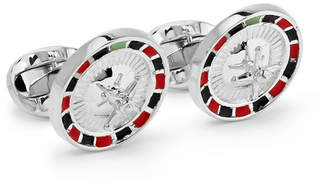 Deakin & Francis Roulette Wheel Sterling Silver And Enamel Cufflinks