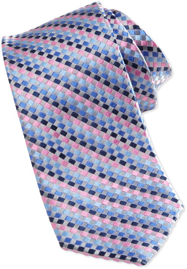 Neiman Marcus Float Woven Skinny Silk Tie, Silver