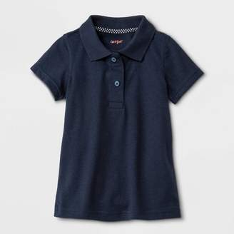 Cat & Jack Toddler Girls' Adaptive Short Sleeve Polo Shirt with Magnetic Closure Navy