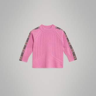 Burberry Childrens Check Detail Wool Cashmere Sweater