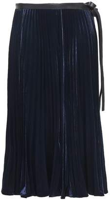 Valentino Pleated Velvet Wrap Midi Skirt