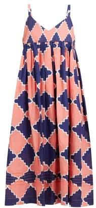 story. Mfg - Daisy Geometric Print Cotton Midi Dress - Womens - Blue Multi