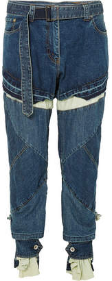 Sacai Distressed Layered High-rise Boyfriend Jeans - Blue