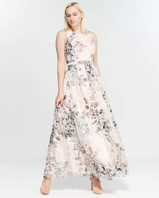 Eliza J Pink Floral Belted Gown
