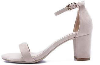 L@YC Women Spring Sandals Simple Word with Exposed Toe Ladies Thick with High Heels Pink Buckle with Dance Pump