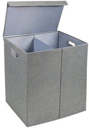 Laundry by Shelli Segal GreenCo Greenco Nonwoven Foldable Double Hamper Sorter with Divider, Removable Cover Magnetic Lid Closure, Build in Side Carrying Handles Gray