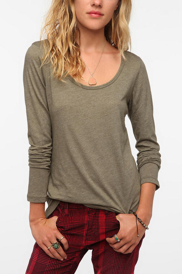 Truly Madly Deeply Long-Sleeved Deep Scoopneck Tee