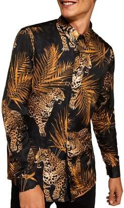 Topman Premium Leopard Print Sport Shirt