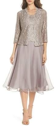 Alex Evenings Lace Bodice Tea Length Dress with Jacket