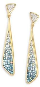 Pleve Marine Ombre Diamond& 18K Yellow Gold Long Kite Drop Earrings