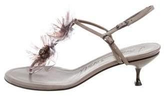 Lanvin Embellished T-Strap Sandals