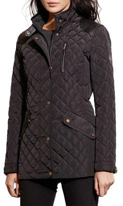 Lauren Ralph Lauren Faux Leather Trim Quilted Coat