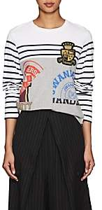 J.W.Anderson Women's Appliquéd Striped Cotton T-Shirt - Off White