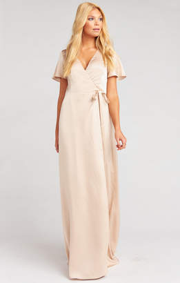 Show Me Your Mumu Noelle Flutter Sleeve Wrap Dress ~ Champagne Luxe Satin
