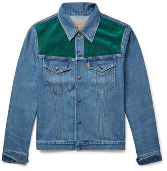 Levi's Corduroy-Panelled Denim Jacket - Blue