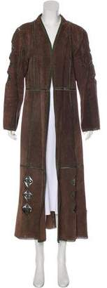 Adrienne Landau Crocheted Suede Coat