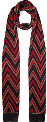 Gucci Metallic Wool-blend Jacquard Scarf - Red
