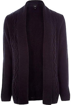 River Island Navy cable knit regular fit cardigan
