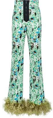 Miu Miu printed stretch denim trousers