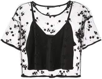 Josie Natori embroidered mesh top